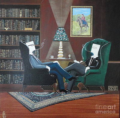 Two Gentlemen Sitting In Wingback Chairs At Private Club Art Print by John Lyes