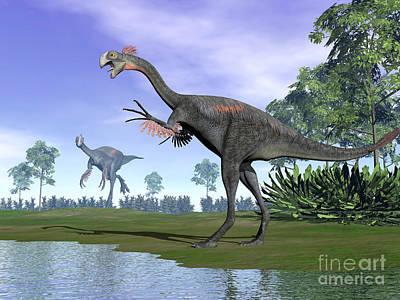 Landscapes Kadek Susanto - Two Gigantoraptor Dinosaurs by Elena Duvernay