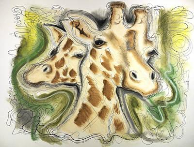 Jordan Drawing - Two Giraffes by Mark Jordan