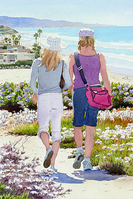 Sunny Day Painting - Two Girls At Dog Beach Del Mar by Mary Helmreich