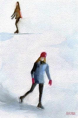 Two Girls Ice Skating Watercolor Painting Art Print
