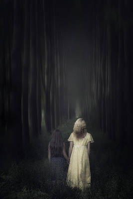 From Behind Photograph - Two Girls In A Forest by Joana Kruse