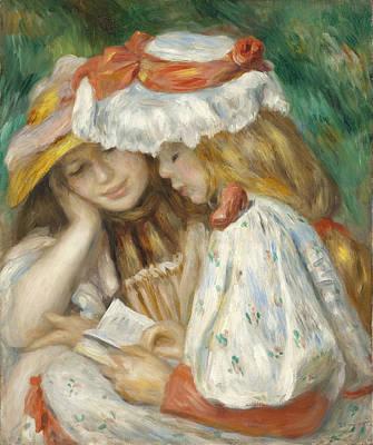 Kids Bones Digital Art - Two Girls Reading by Renoir