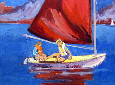 Two Girls Set To Sail With Red Sail Art Print by Betty Pieper