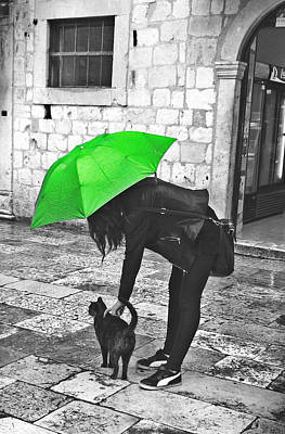 Two Girls Under Umbrella Art Print