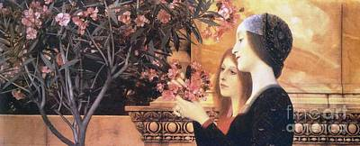 Oleanders Painting - Two Girls With Oleander by Pg Reproductions