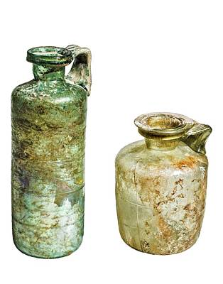Roman Glass Photograph - Two Glass Bottles Roman Period by Photostock-israel