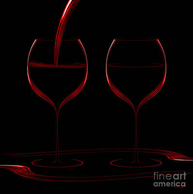 Digital Art - Two Glass Red by Johnny Hildingsson