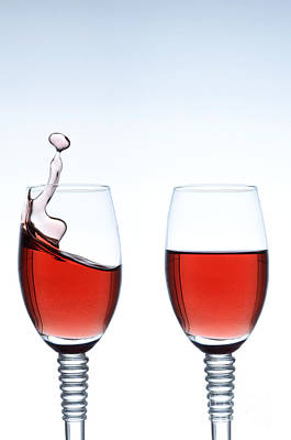 Wine Cellar Photograph - Two Glasses Of Red Wine by Andreas Berheide
