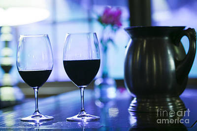 Photograph - Two Glasses Of Red Wine On A Bar. by Don Landwehrle