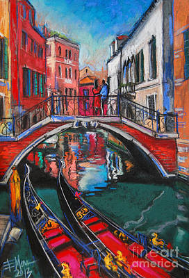 Brick Buildings Painting - Two Gondolas In Venice by Mona Edulesco