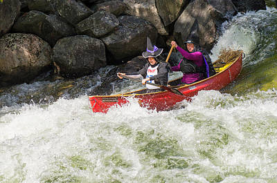Whitewater Photograph - Two Good Looking Witches Shooting Rapids by Les Palenik