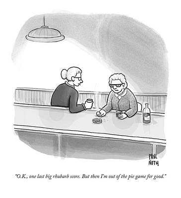 Food Drawing - Two Grannies Smoke And Drink At A Bar by Paul Noth