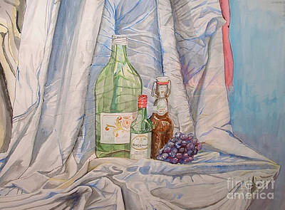Painting - Two Green Bottles by Michelle Deyna-Hayward