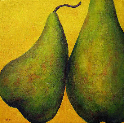 Two Green Pears Print by Marie-louise McHugh
