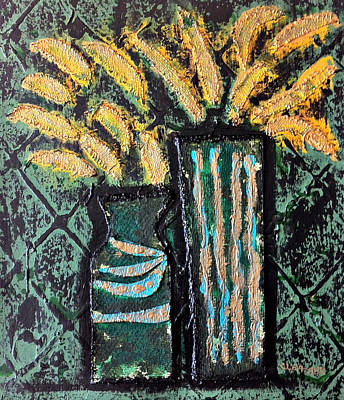 Painting - Two Green Vases Yellow Flowers by Cleaster Cotton