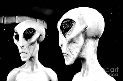 Digital Art - Two Grey Aliens Science Fiction Portrait Black And White Conte Crayon Digital Art by Shawn O'Brien