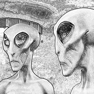 Digital Art - Two Grey Aliens Science Fiction Square Format Black And White Colored Pencil Digital Art by Shawn O'Brien