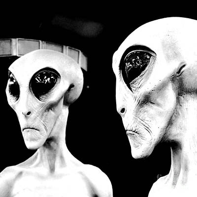 Digital Art - Two Grey Aliens Science Fiction Square Format Black And White Conte Crayon Digital Art by Shawn O'Brien