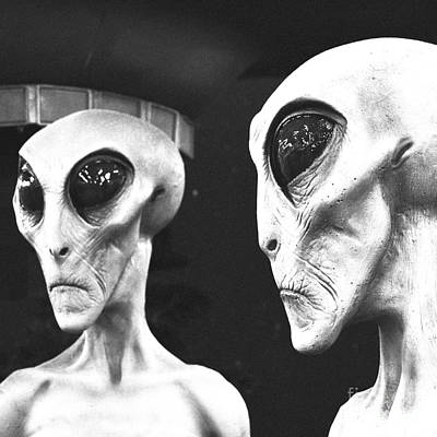 Two Grey Aliens Science Fiction Square Format Black And White Film Grain Digital Art Art Print