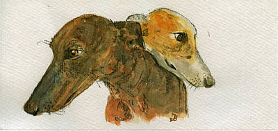 Breed Wall Art - Painting - Two Greyhounds by Juan  Bosco