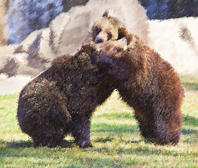 Digital Art - Two Grizzly Bears Ursus Arctos Play Fighting by Liz Leyden