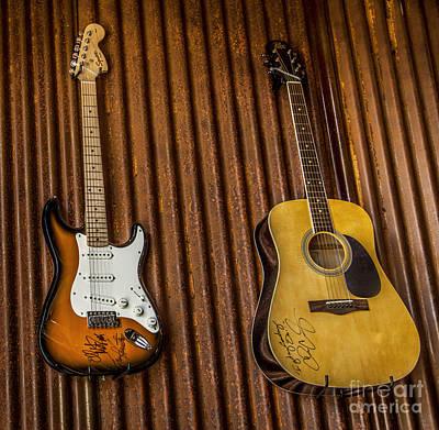 Vintage Photograph - Two Guitars by David Millenheft