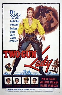 Two-gun Lady, Top L-r Peggie Castle Art Print