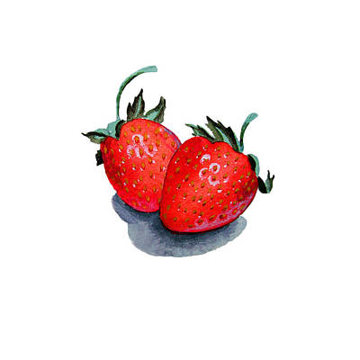 Two Happy Strawberries Art Print