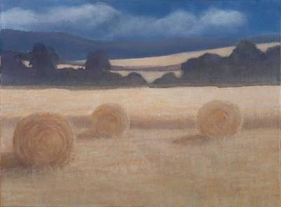Bale Photograph - Two Hay Bales, 2012 Acrylic On Canvas by Lincoln Seligman