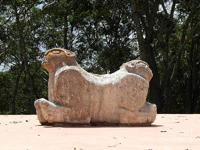 Photograph - Two Headed Jaguar Throne At Uxmal Yucatan Mexico by Michael Hoard