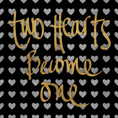 Text Digital Art - Two Hearts Become One Pattern by South Social Studio