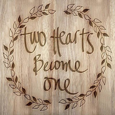 Inspirational Mixed Media - Two Hearts Become One by South Social Studio