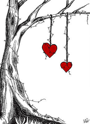 Urban Art Drawing - Two Hearts But One Love by Melissa Smith