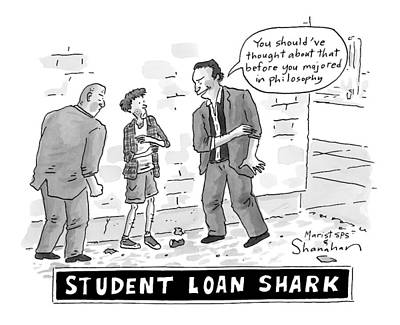 Reef Shark Drawing - Two Henchman -- Student Loan Sharks -- Approach by Danny Shanahan