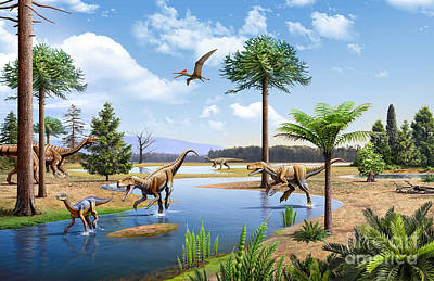 Triassic Digital Art - Two Herrerasaurus Dinosaurs Chasing by Mohamad Haghani
