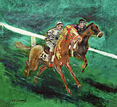 Painting - Two Horse Race by Tom Conway