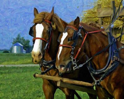 Two Horse Team Art Print by F Leblanc