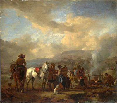 Two Horsemen At A Gipsy Encampment Art Print
