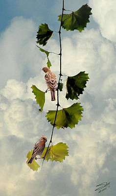 Digital Art - Two House Finches On A Vine by IM Spadecaller