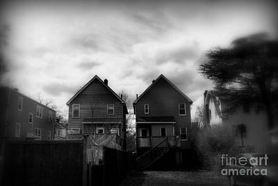 Photograph - Two Old Houses - Black And White by Miriam Danar
