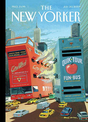 Two Huge Double Decker Tourist Buses Shooting Art Print by Bruce McCall