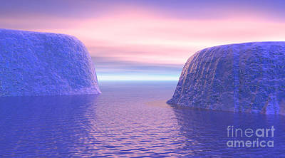 Two Icebergs Face To Face In The Ocean Art Print