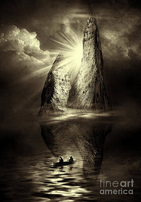 Surrealism Royalty-Free and Rights-Managed Images - Two in a Boat by Svetlana Sewell
