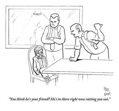 Two Interrogators Talk To A Ventriloquist's Dummy Art Print