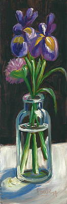 Still Life Royalty-Free and Rights-Managed Images - Two Irises and a Chive by Rachel Fogle