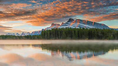 Sunset Photograph - Two Jack Lake At Sunset, Banff National by Arnaudbertrande