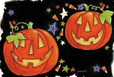 Jack O Lantern Painting - Two Jack O Lanterns by Anne Tavoletti