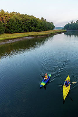 Using The River Photograph - Two Kayakers Enjoy An Early Morning by Jerry Monkman