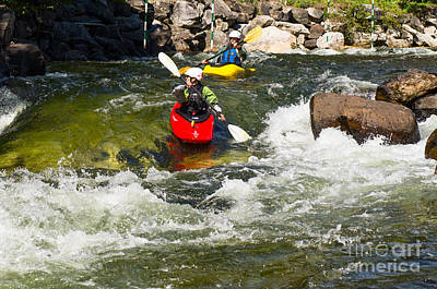 Photograph - Two Kayakers On A Whitewater Course by Les Palenik